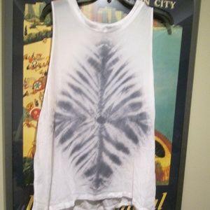 Anthropologie Sheer White & Gray Tye Dye Tunic Top